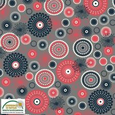 Stoff Avalana Jersey Fabric - Shades of Red and Grey Millefiori