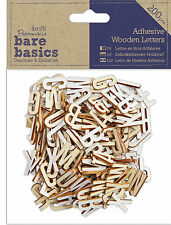Docrafts Papermania craft wooden 200 pk Bare basics adhesive alphabet letters