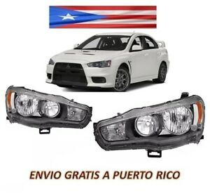 For 08 12 Mitsubishi Lancer Headlight Evo Projector Black Left and Right Set