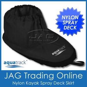 AQUATRACK NYLON KAYAK SPRAY DECK SKIRT- Waterproof Black Ripstop Universal Fit