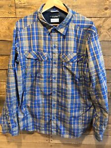 Columbia Blue Plaid 8Long Sleeve Vented Shirt, Large with Insect Blocker
