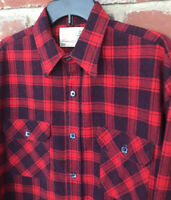 Vintage Field Master Perma Prest Men's Large 16-16.5 Buffalo Plaid Flannel Shirt