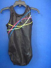 GK~Black Shiny GYMNASTICS / DANCE LEOTARD w/ Ribbon Designs~Girls Child