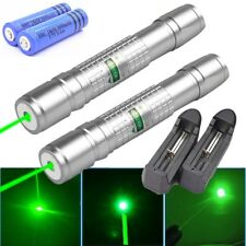 2Pc 50Mile Astronomy Green Laser Pointer Visible Aluminium Light+Battery+Charger