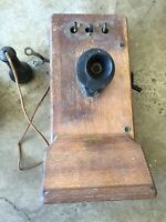 Vintage 1920 Kellogg Hand Crank Wall Telephone Phone Wood Case Parts Or Restore