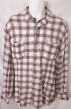 DIESEL Lightweight Cotton Gauze LS Plaid Shirt White Red Gray SIZE SMALL