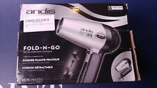 Andis 1875-Watt Fold-N-Go Ionic Hair Dryer , Silver/Black retractable cord.