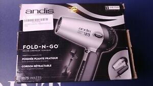 Andis 1875-Watt Fold-N-Go Ionic Hair Dryer , Silver/Black retractable cord.