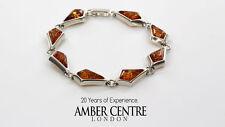 Diamond Shaped Cognac Baltic Amber Bracelet 925 Sterling Silver RRP£159-BR013