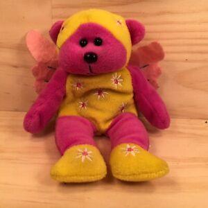 "PETAL THE BEAR ""Pink Yellow"" Beautiful Little Teddy Bear Soft Toy Stuffed Friend"