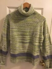 Metropolis Couloir Sz.large Green purple weave womens turtleneck Sweater
