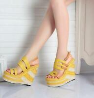 New Boho Women Wedge Heel Summer Platform Open Toe High Sandal Buckle Slingback