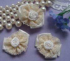 """1-3/8"""" Ivory Satin Venise Lace Ribbon Bows & Roses-10pcs (Rb014)"""