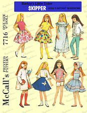 1960's Doll clothes sewing pattern for blythe, skipper and skooter - 9 inch