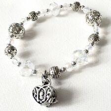 Alexas Angels Prayer Box Crystal Charm Bracelet Stretch Faceted Clear Cut Stones