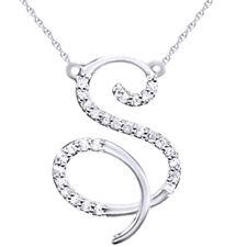 "0.12 Ct Diamond ""S"" Initial Pendant 18"" Necklace 14K White Gold"