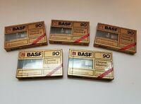**Lot of 5 BASF Chrome Maxima II 90 Type IEC II Cassette New and Sealed!**