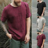 Men Baggy Cotton Linen Summer Blouse Short Sleeve O-Neck Retro Button Shirt Tops