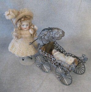 """Antique All Bisque Doll & white metal Pram w/ Baby NM  4.7"""" Doll house Miniature"""