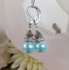 Ohrhänger Glas Perlen in Türkis mit Strass und Glas Rhomben Edelstahl 304 Brisur