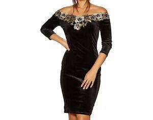 £40 NEW QUIZ Black Velvet Bardot Gold Embroidered Midi Dress 8,10,12,14