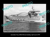 OLD POSTCARD SIZE PHOTO OF AUSTRALIAN NAVY HMAS BRUNEI LANDING VESSEL c1970