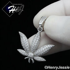MEN WOMEN 925 STERLING SILVER LAB DIAMOND ICED BLING MARIJUANA LEAF PENDANT*P173
