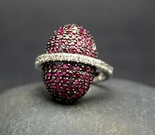 UNIQUE RHODOLITE & CUBIC ZIRCONIA 925 STERLING SILVER Size 7 FAST FREE SHIPPING