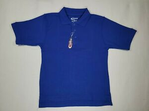Boys Blue Short Sleeve Knit Polo Shirt Premium Authentic School Uniform