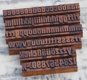 "a-z + 0-9 alphabet 1.06"" letterpress printing blocks type printer old vintage ~"