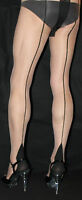 3 Pairs Nude Tights with Black Contrast French Heel & Seam Retro one size