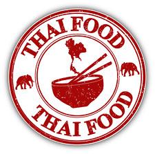 "Thai Food Grunge Rubber Stamp Car Bumper Sticker Decal 5"" x 5"""