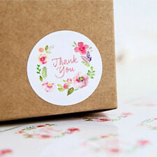 "UK New ""Thank You"" 100pcs Flower Food Candy Bags Stickers Paper Labels Gifts"