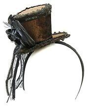 Ladies Brown Velvet Ornate Steampunk Mini Top Hat Headband