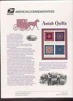 #3524-27 34c Amish Quilts USPS #633 Commemorative Stamp Panel