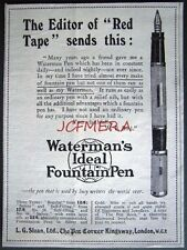 1921 Waterman's 'IDEAL' Fountain Pen ADVERT #2 - Small Vintage Print Ad