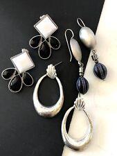 Door Knockers Dangle Lot of 3 Black and White Silver Tone Pierced Earrings