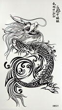 King Horse Black and White Dragon Temporary Tattoos #HM501New Arrival!!