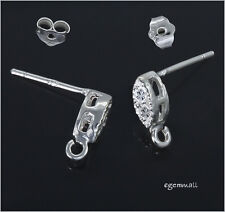 Sterling Silver CZ Marquise Dangle Post Stud Earring Connector #51788