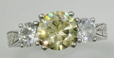 2ct Three Stone Canary Ring Vintage Top Russian CZ Imitation Moissanite SS Sz 9