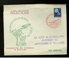 1954 Suriname Cover Fdc # C 27 Airmail Anniversary