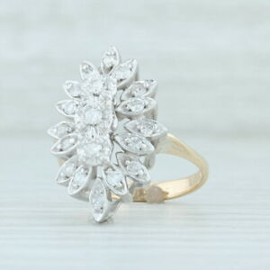 0.42ctw Diamond Cluster Ring 14k Yellow White Gold Size 6.5 Floral Halo Cocktail