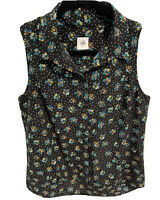 Cabi Whimsy Black Floral Dot Sleeveless Popover Shirt Blouse Top #3440 Size M C2
