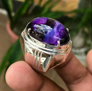 SOLID 925 STERLING SILVER AAA NATURAL PURPLE AMETHYST GEMSTONE MENS RING JEWELRY