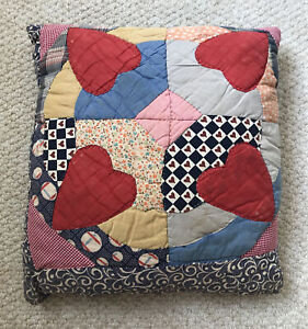 Vintage Quilt Pillow Square Handstitched Red Hearts Multicolor