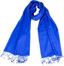"Pashmina Stola Kornblau handgewebt 70% Cashmere 30% Seide, silk scarf blue 36"""