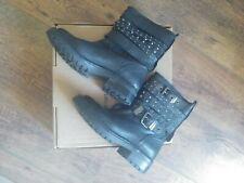 Office Stud black Biker Boots Size 3