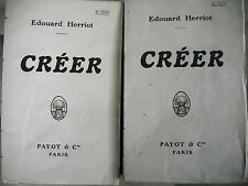 CREER Edouard Herriot 2/2 volumes 1919 enseignement organisation financière etc