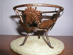 Copper coloured stand with 'lace' glass bowl insert, multitude of uses