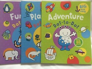 Brand New Children's Dot to Dot Books x 3 - ADVENTURE, PLAYTIME AND FUNTIME